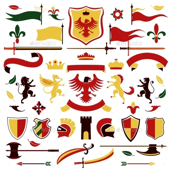 GraphicRiver Heraldic Set Colored 9333070