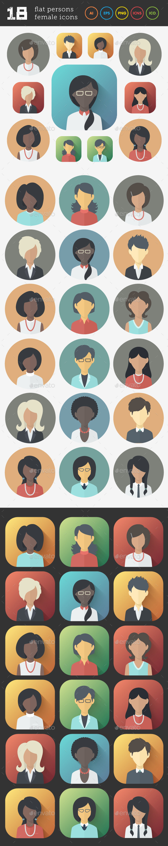 GraphicRiver Flat Icons Set of Female Persons 9333117