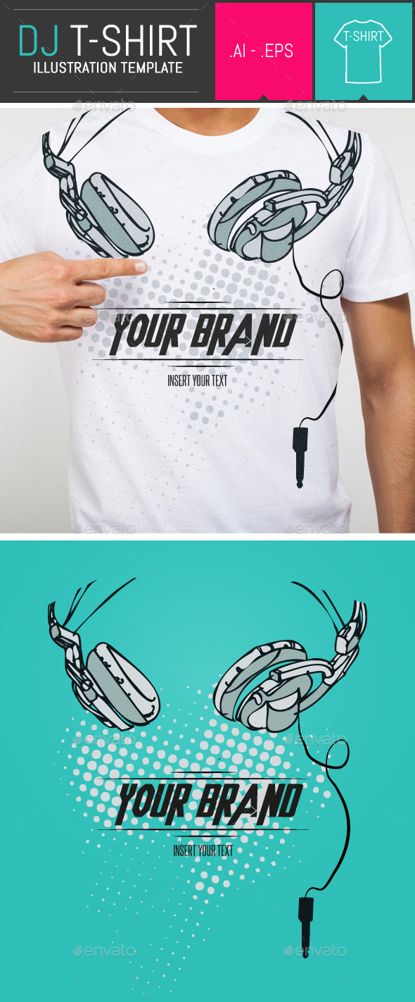 GraphicRiver Dj Headphones T-Shirt Vector Illustration Template 9333144