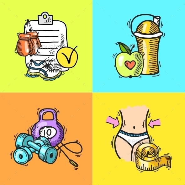 GraphicRiver Fitness Sketch Illustration 9333278