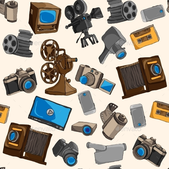 GraphicRiver Photo Video Seamless Pattern 9333300