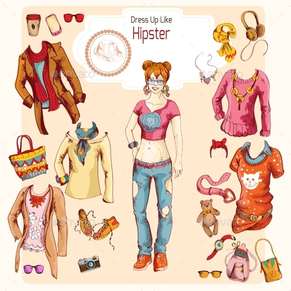 GraphicRiver Hipster Girl Clothes Set 9333306