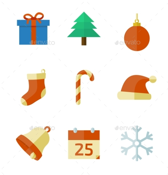GraphicRiver Christmas Icons in Flat Style 9333311