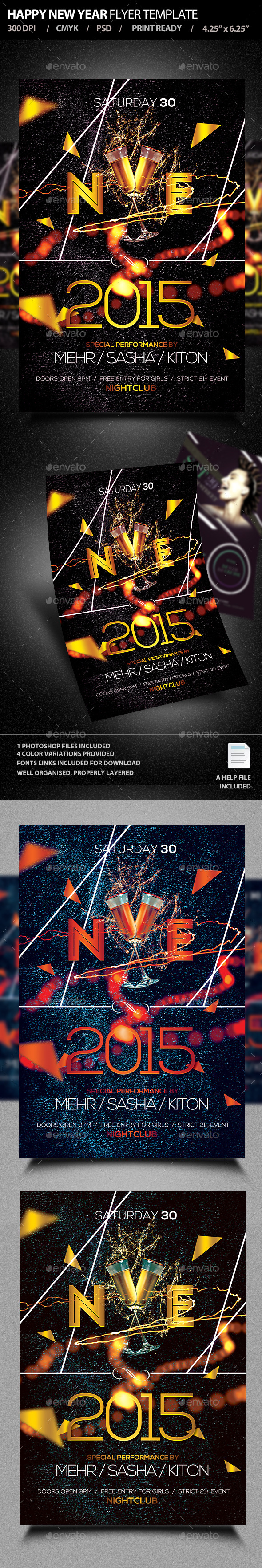 GraphicRiver Happy New Year Flyer Template PSD V3 9333712