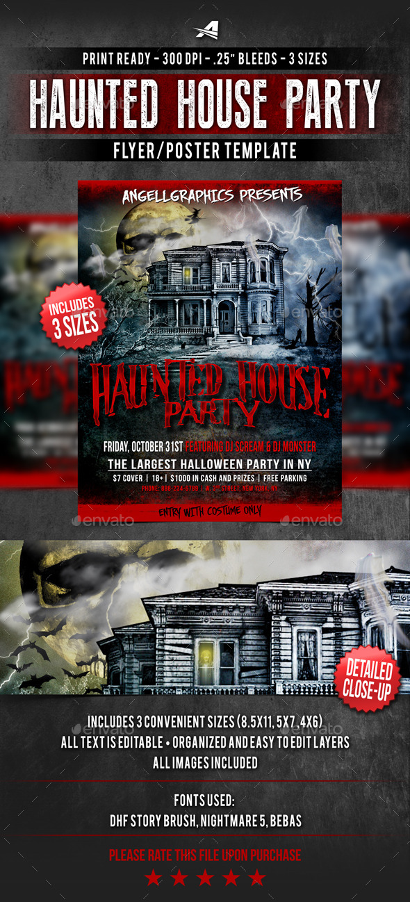 GraphicRiver Haunted House Party Flyer 9333773