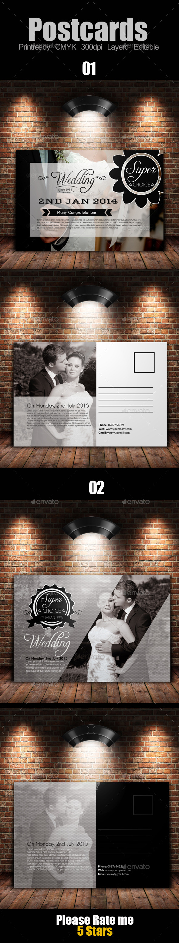 GraphicRiver Wedding Invitation Post Card Bundle 9333824