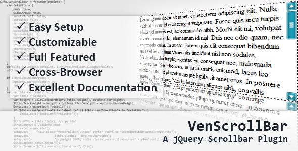 CodeCanyon VenScrollBar A jQuery Scrollbar Plugin 118911