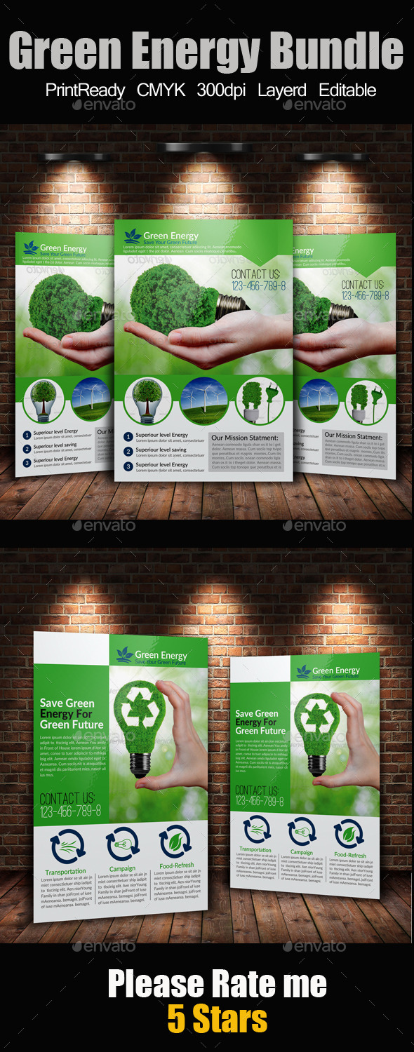 GraphicRiver A4 Green Energy Flyer Bundle 9334222