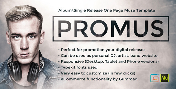 ThemeForest Promus Album Release One Page Muse Template 9334338