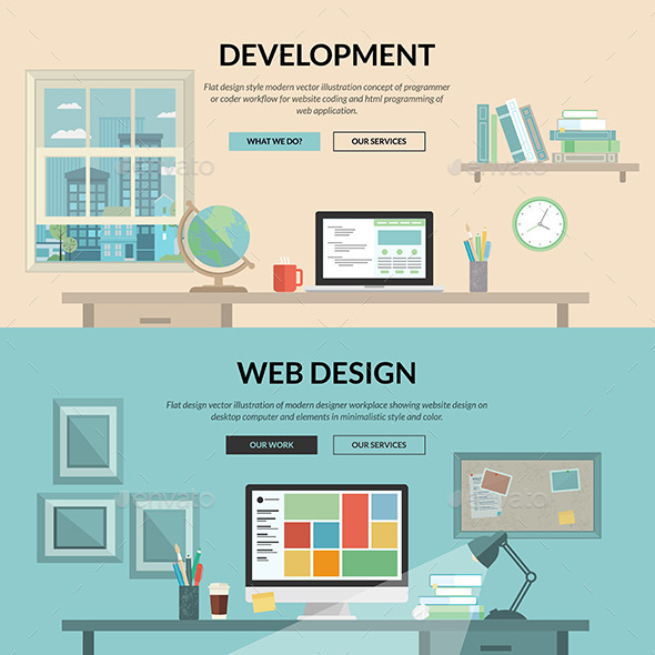 GraphicRiver Set of Flat Design Concepts for Web Development 9256979