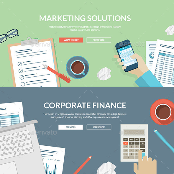 Flat Design Concepts for Marketing and Finance