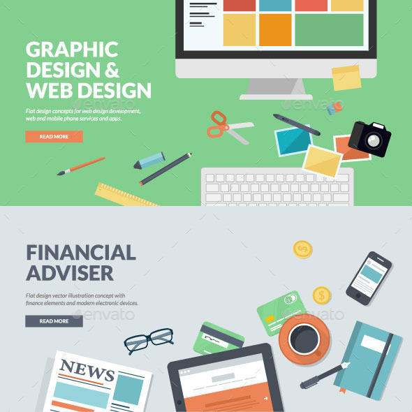 GraphicRiver Flat Concepts for Web Development and Finance 9257322