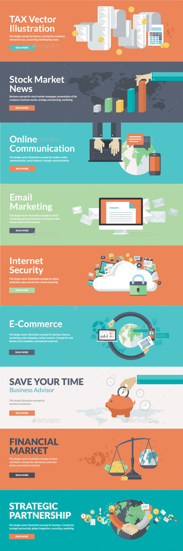 GraphicRiver Flat Concepts for Marketing Finance Business 9257328