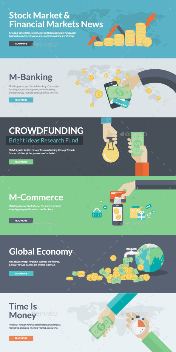 GraphicRiver Flat Concepts for Finance and Business 9257356