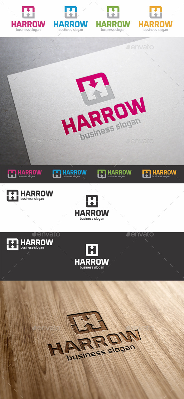 GraphicRiver H Letter Arrows Logo Template 9334462