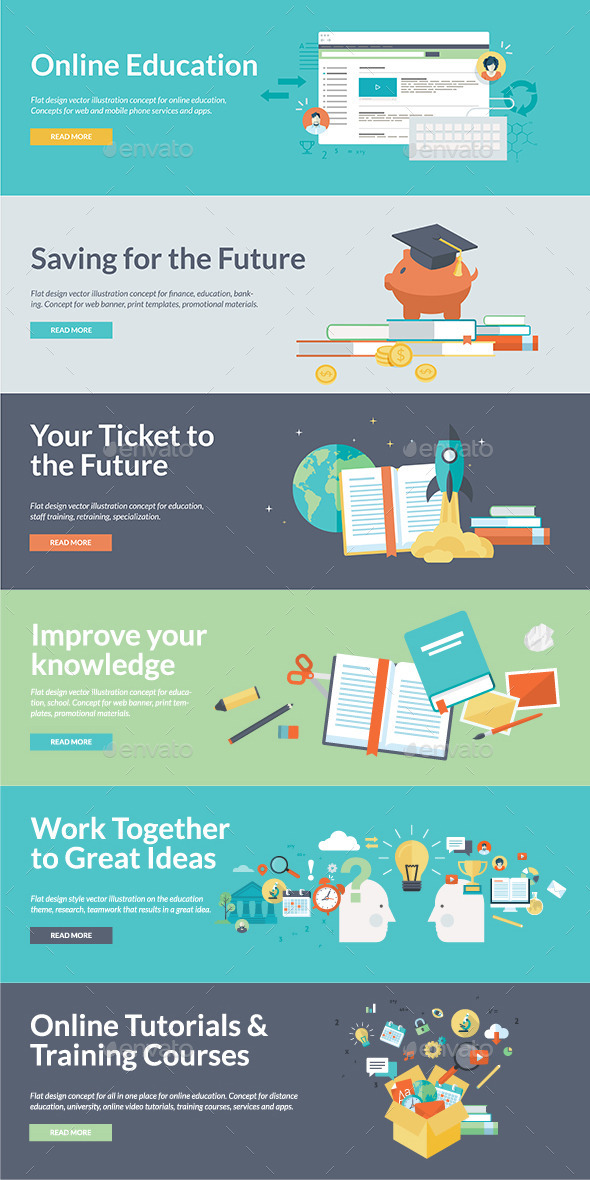 GraphicRiver Flat Design Concepts for Online Education 9257365
