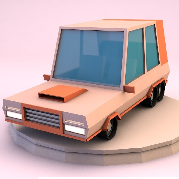 3DOcean Low poly minivan 9335485