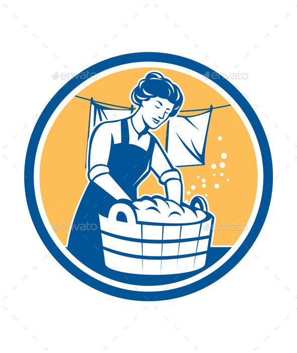 GraphicRiver Housewife Washing Laundry Vintage Circle 9335637