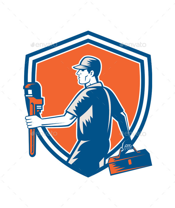 GraphicRiver Plumber Carry Toolbox Wrench Shield Woodcut 9335648
