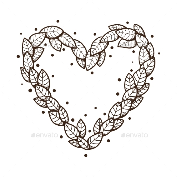 GraphicRiver Heart with Leaves and Flowers 9335794