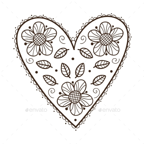 GraphicRiver Heart with Leaves and Flowers 9335795