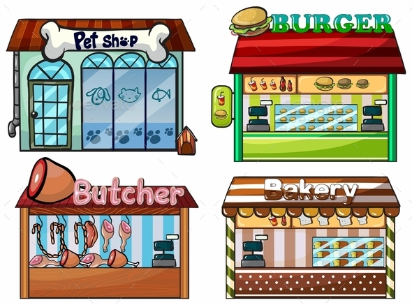 GraphicRiver Petshop Burger Stand Butcher Shop and Bakery 9335847