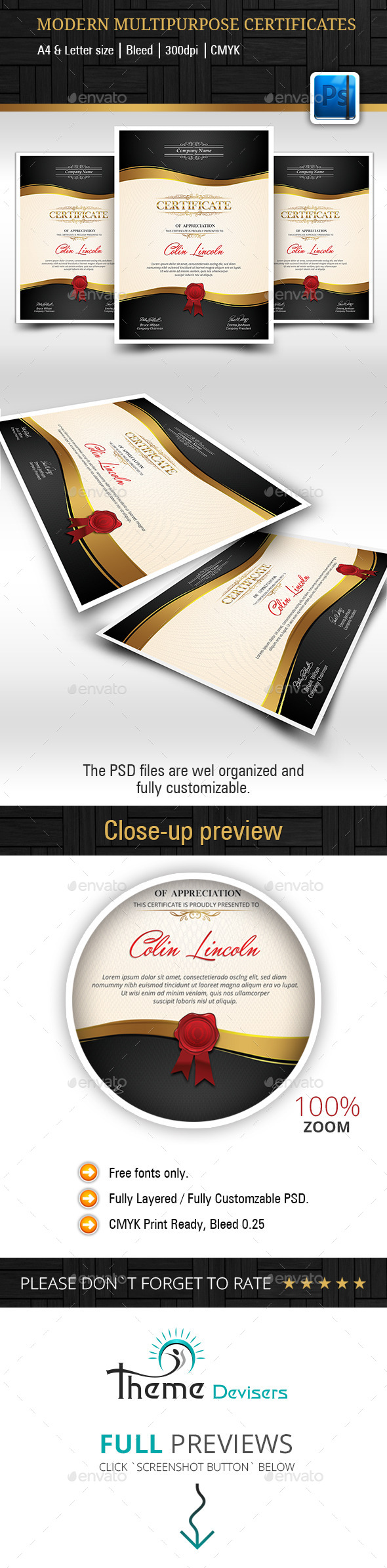 GraphicRiver Modern Multipurpose Certificates 9335951