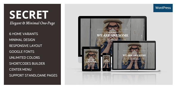 SECRET – Elegant & Minimal One-Page WordPress Theme is a very clean and modern designed multipurpose WordPress theme for any business. Elegant and Mi