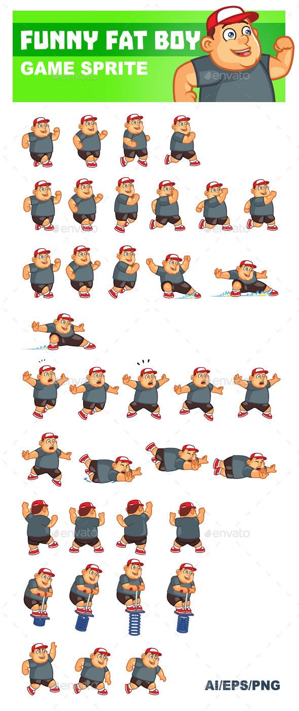 Funny Fat Boy Sprite - Sprites Game Assets