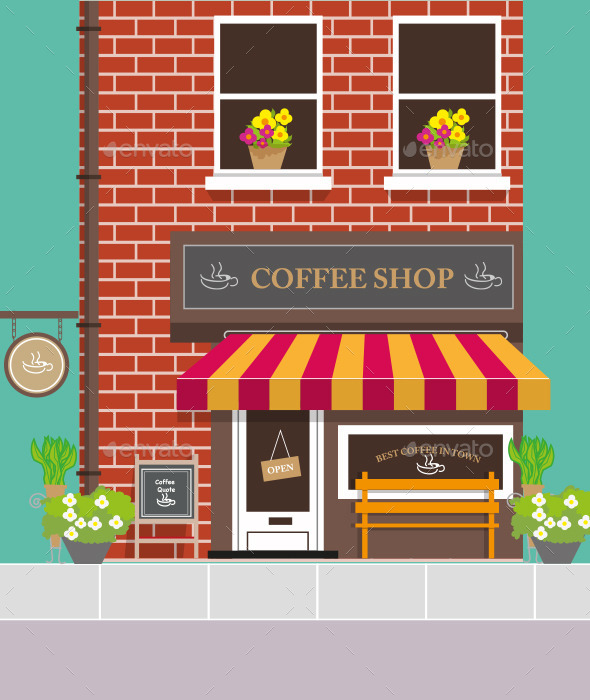 GraphicRiver Front View of Coffee Shop 9336055