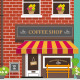 Front View of Coffee Shop - GraphicRiver Item for Sale