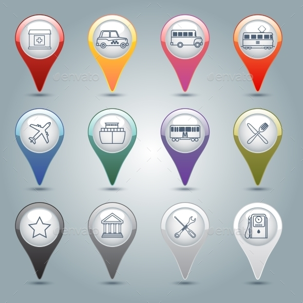 GraphicRiver GPS Markers Set 9336114
