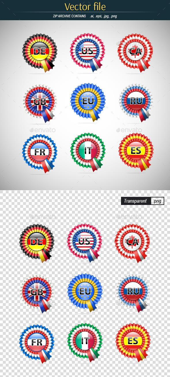 GraphicRiver Badges with Flags 9336258