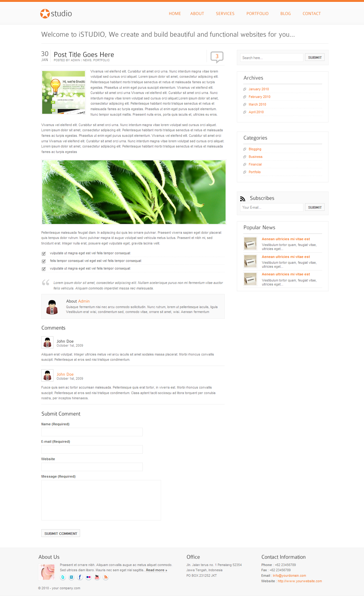istudio - Clean and Minimalist Business Template - single post page
