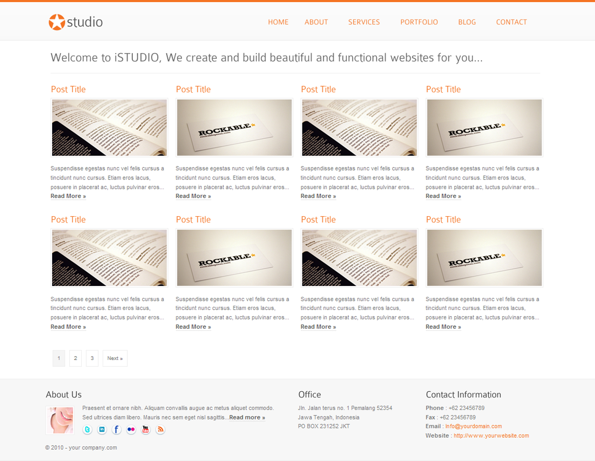 istudio - Clean and Minimalist Business Template - portfolio style 1 page