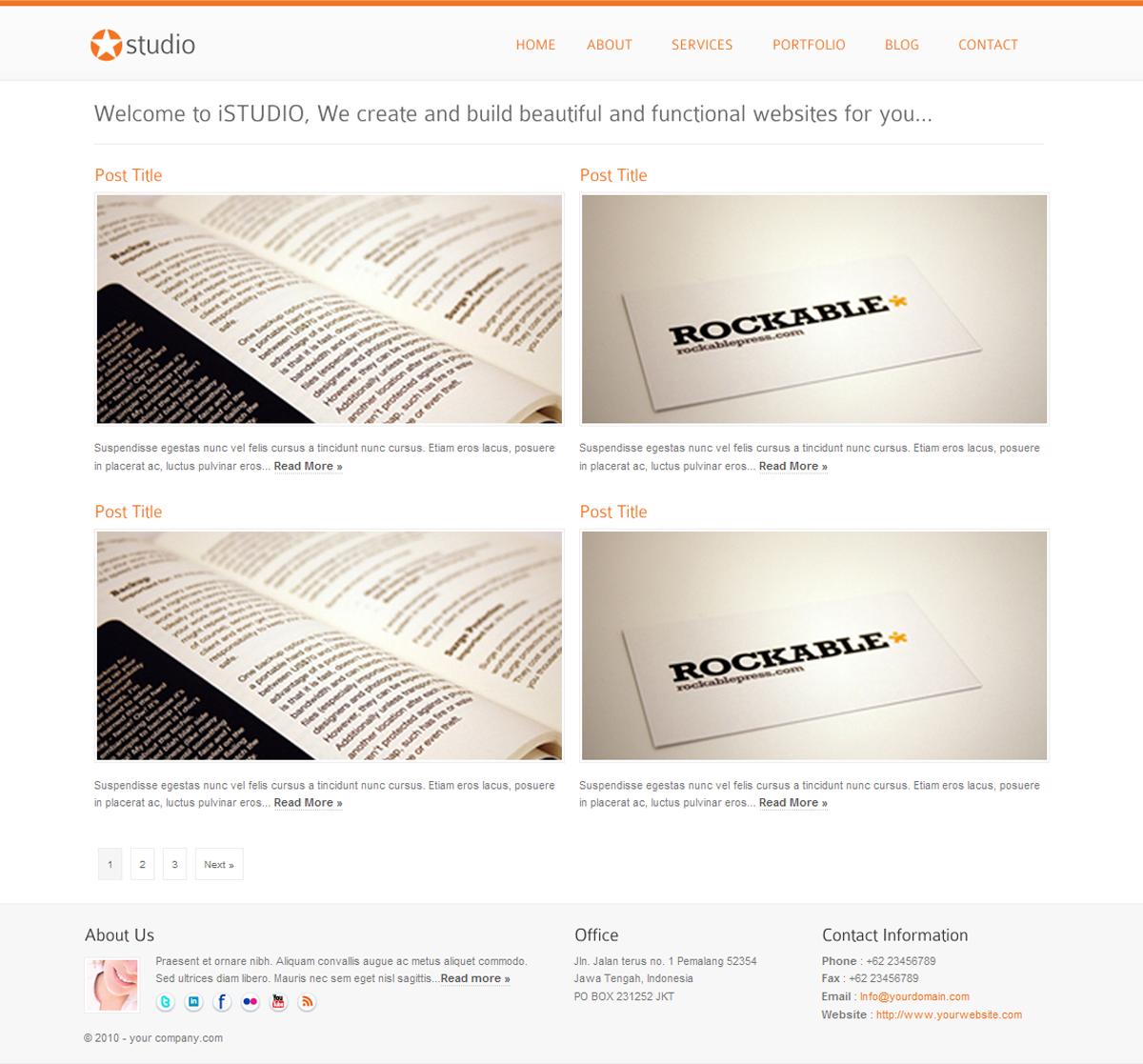 istudio - Clean and Minimalist Business Template - portfolio style 3 page