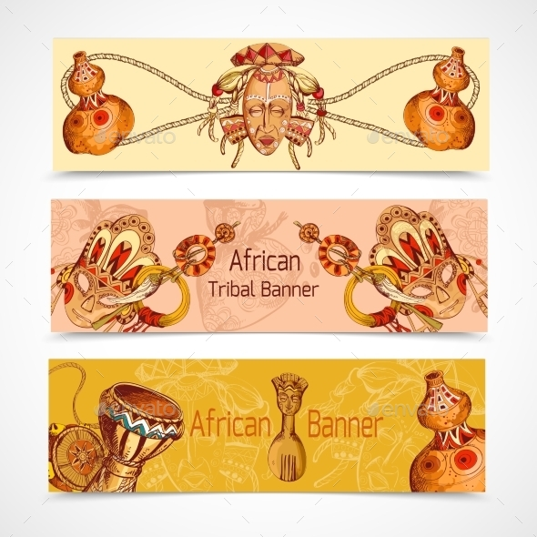 GraphicRiver Africa Sketch Colored Banners 9336591
