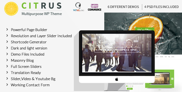 Citrus, a responsive one page parallax WordPress theme comes with powerful page builder. A truly multipurpose theme so you can build your personal website or ea