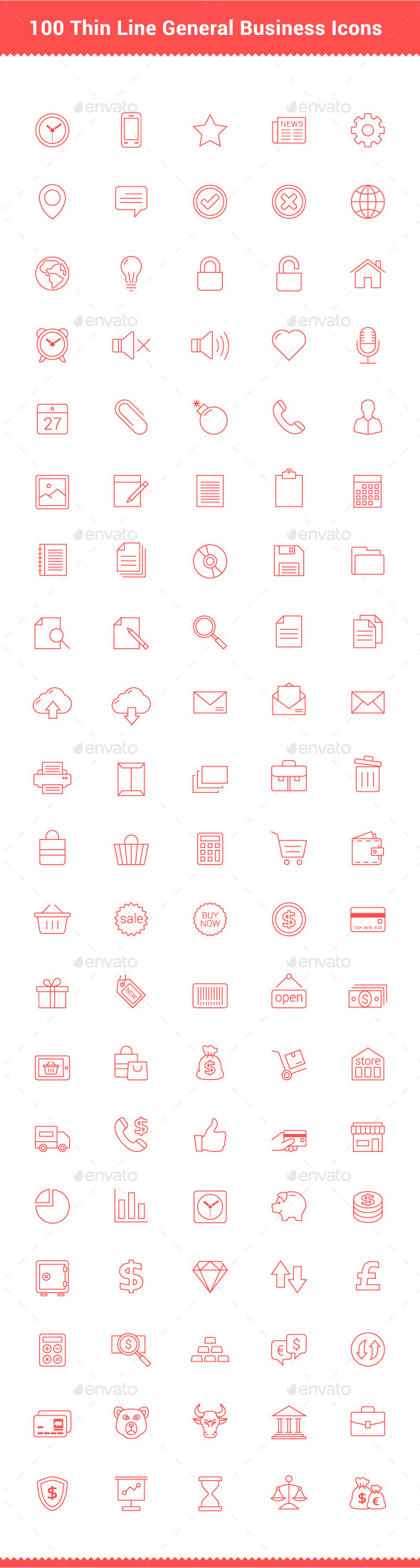 GraphicRiver 100 Thin Line Stroke General Business Icons 9337065
