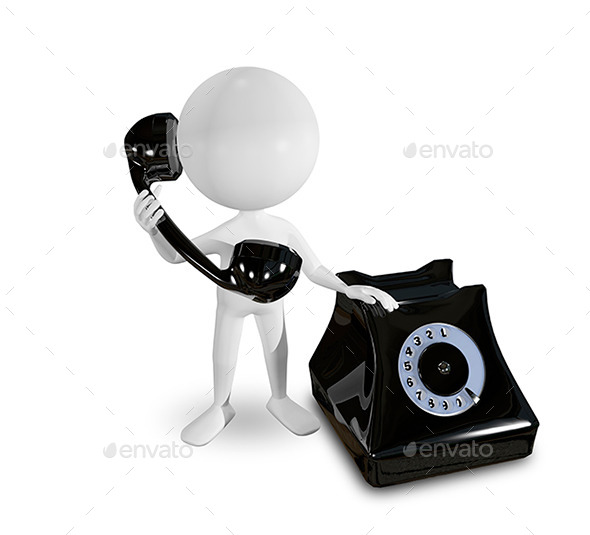 GraphicRiver White Man on a Black Telephone 9337252