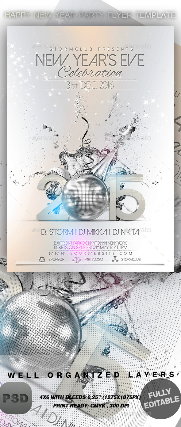 GraphicRiver Happy New Year Party Flyer Template 9337892