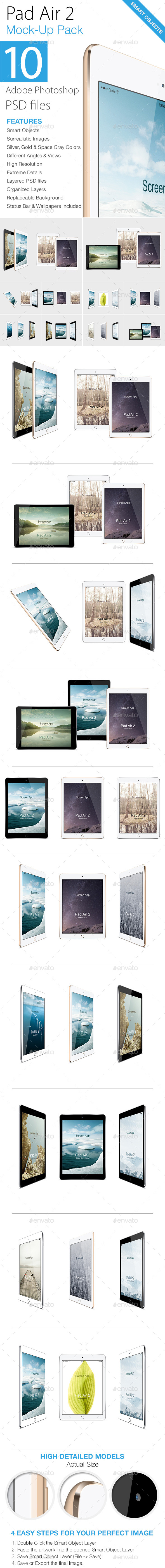 GraphicRiver Pad Air 2 Mock-ups Pack 9317618