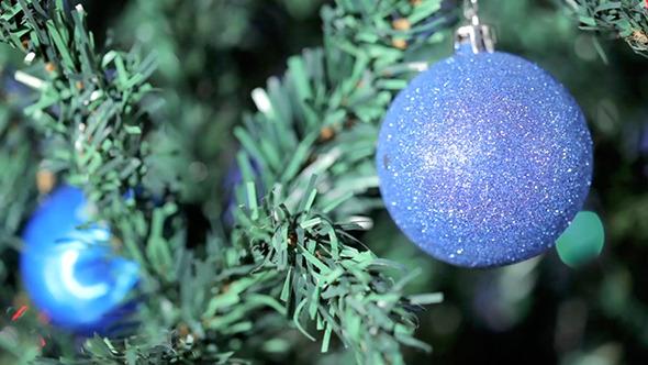 Blue Ball On Christmas Tree