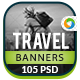 Travel Web Banner Set - 5 colors - GraphicRiver Item for Sale