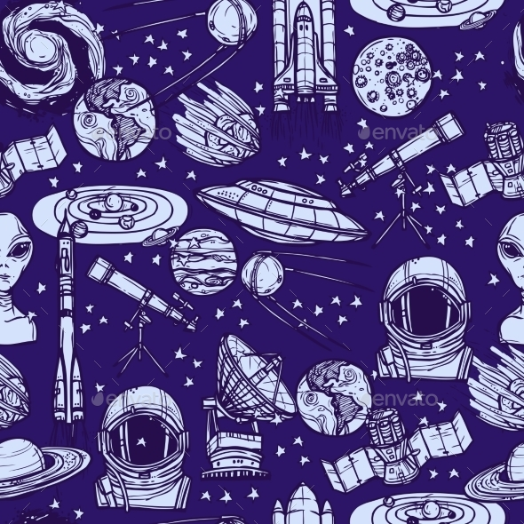 GraphicRiver Space Sketch Seamless Pattern 9338341