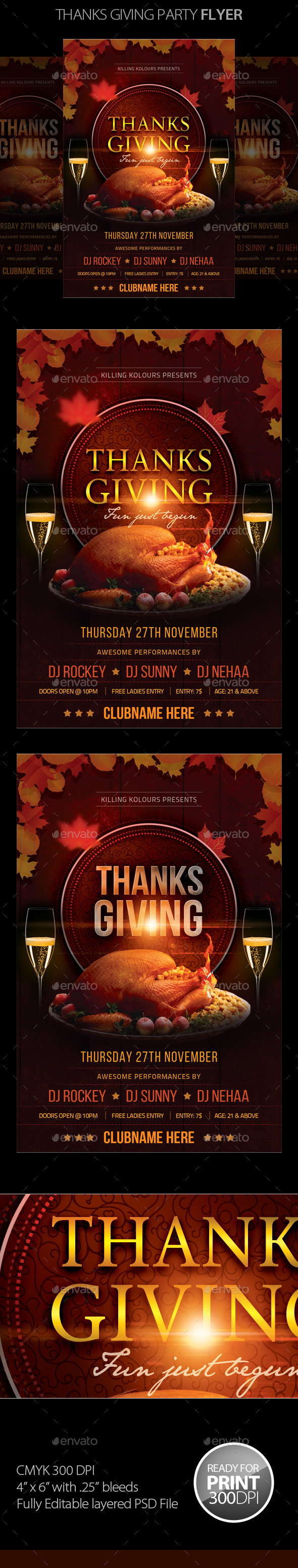 GraphicRiver Thanksgiving Party Flyer 9338413