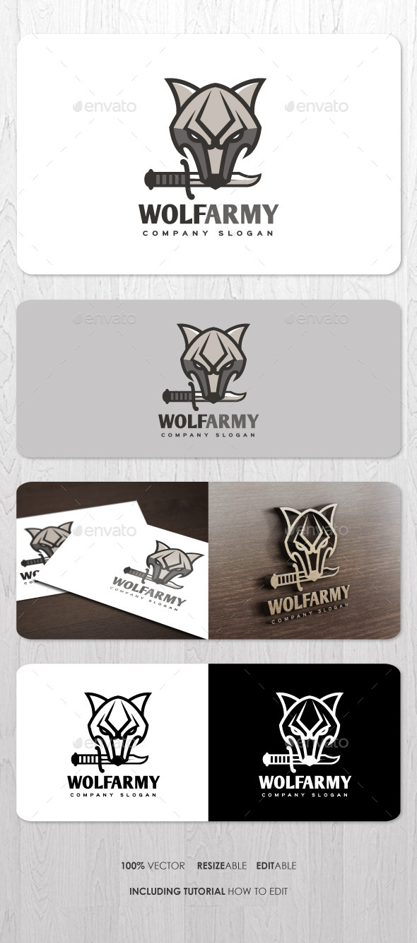GraphicRiver Wolf Army Logo 9338421