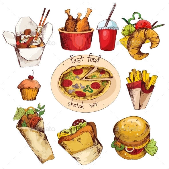 GraphicRiver Fast food sketch set 9338427