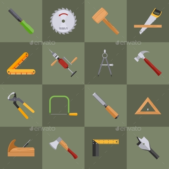 GraphicRiver Carpentry Tools Icons 9338637