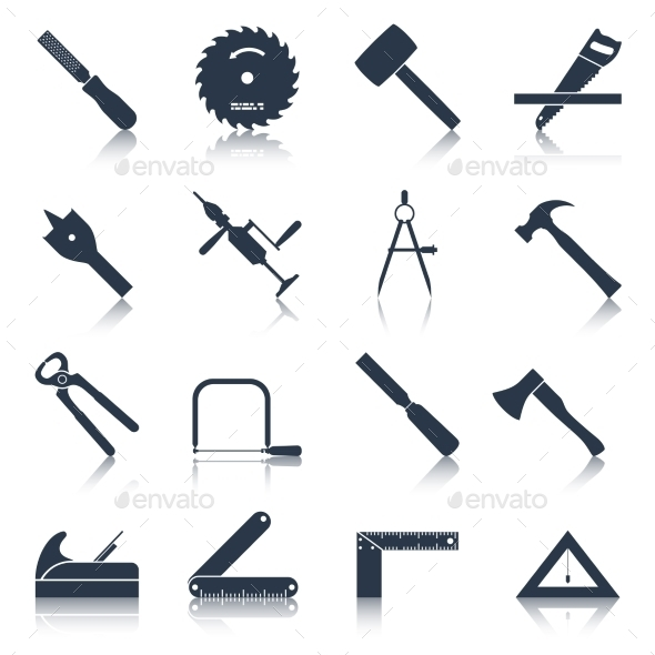 GraphicRiver Carpentry Tools Icons Black 9338640